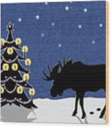 Candlelit Christmas Tree And Moose In The Snow Wood Print