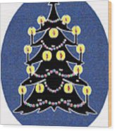 Candlelit Christmas Tree Wood Print