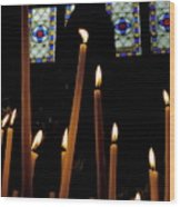 Candles Burning Inside The Basilica Of The Saint Sauveur Wood Print