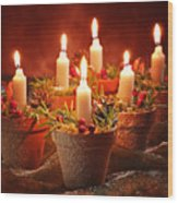 Candles In Terracotta Pots Wood Print