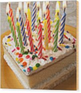 Candles On Birthday Cake Wood Print