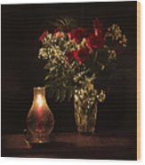 Candlestick And Roses Wood Print