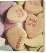 Candy Hearts Wood Print