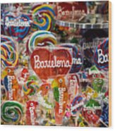 Candy Stand - La Bouqueria - Barcelona Spain Wood Print