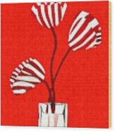 Candy Stripe Tulips Wood Print