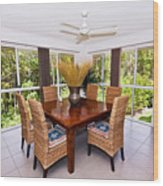 Cane Dining Setting Wood Print