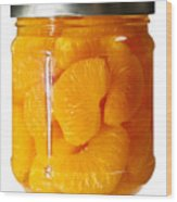 Canned Mandarin Oranges In Glass Jar Wood Print