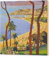 Cannes Vintage Travel Poster Wood Print