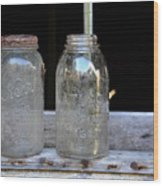 Canning Jars Wood Print