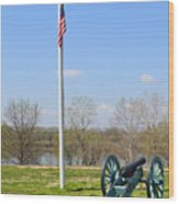 Cannon And Flagpole Overlooking River Wood Print