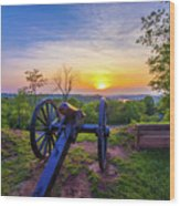 Cannon At Sunset Wood Print