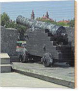 Cannon At The Castillo Wood Print
