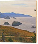 Cannon Beach From Ecola State Park Wood Print