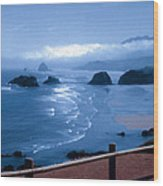 Blue Waters On Cannon Beach Wood Print