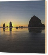 Cannon Beach Low Tide Sunset Wood Print
