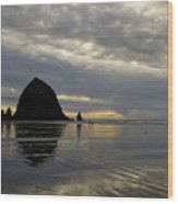 Cannon Beach Reflections Wood Print