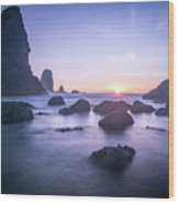 Cannon Beach Rocks Sunset Wood Print