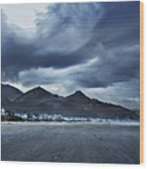 Cannon Beach Under Clouds Wood Print