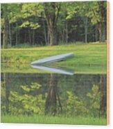 Canoe At Ponds Edge Wood Print