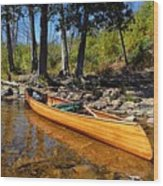 Canoe At Portage Landing Wood Print by Larry Ricker