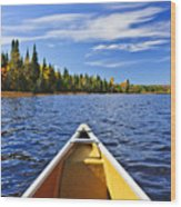 Canoe Bow On Lake Wood Print