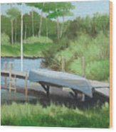 Canoe Dock Wood Print