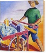 Canoe Fisherman With Cart Wood Print