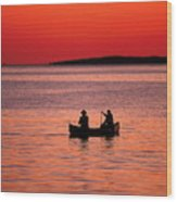 Canoe Fishing Wood Print