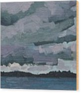 Canoe Lake Rain Clouds Wood Print