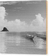 Canoe Landscape - Bw Wood Print