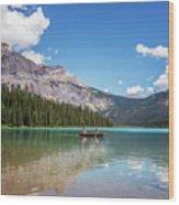 Canoe On Emerald Lake British Columbia Wood Print