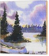 Canoe On Land Wood Print