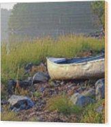 Canoe On The Rocks Wood Print