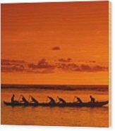 Canoe Paddlers Wood Print