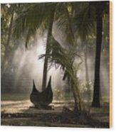 Canoe Under Palm Trees In Kerala, India Wood Print