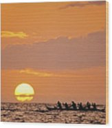 Canoeing At Sunset Wood Print