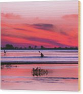 Canoeing On Color Wood Print