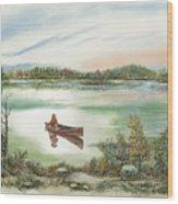 Canoeing On The Lake Wood Print