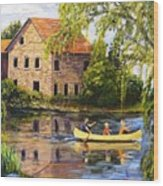 Canoeing Past The Mill Wood Print