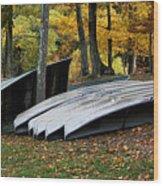 Canoes And Boats Ashore Wood Print