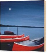 Canoes And Moon 87 Wood Print