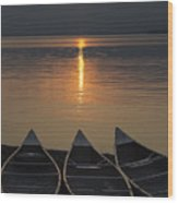 Canoes At Sunrise Wood Print