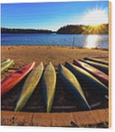 Canoes At Sunset Wood Print