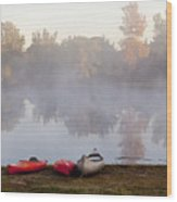 Canoes By A Foggy Lake In Autumn Wood Print