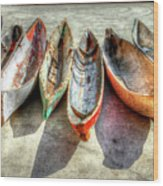 Canoes Wood Print