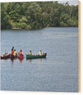 Canoes On Lake Wood Print by Blink Images