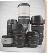 Canon Lenses Wood Print