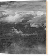 Canyon In Clouds Bw Wood Print