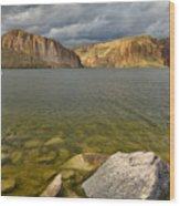 Canyon Lake Stormy Sky Wood Print