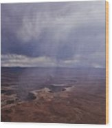 Canyonlands Rain On The Green River Wood Print